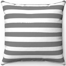 "Load image into Gallery viewer, Grey Texture Stripes 16"" Or 18"" Square Throw Pillow Cover"