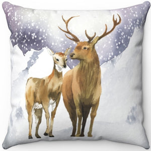 "Snowy Mountain Wildlife 16"" 18"" Or 20"" Square Throw Pillow Cover"