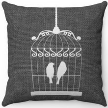 "Load image into Gallery viewer, White Birds In Cage On Grey 16"" 18"" Or 20"" Square Throw Pillow Cover"