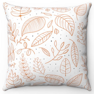 "Hand Sketched Fall Leaves 18"" x 18"" Throw Pillow"