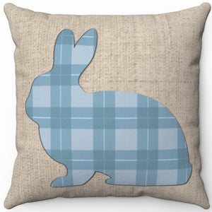 "Pastel Blue Plaid Easter Bunny 16"" Or 18"" Square Throw Pillow"