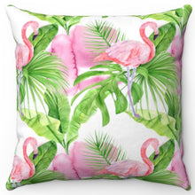 "Load image into Gallery viewer, Pink Flamingo 18"" Or 20"" Square Throw Pillow Cover"