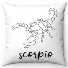 "Load image into Gallery viewer, Scorpio Black & White Printed Design 16"" x 16"" Square Throw Pillow Cover"