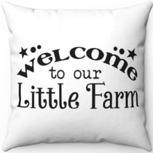 "Load image into Gallery viewer, Little Farm 20"" x 20"" White & Black Throw Pillow Cover"