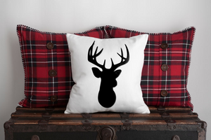 "Deer Silhouette Black & White 16"" 18"" Or 20"" Throw Pillow Cover"
