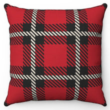 "Load image into Gallery viewer, Red Buffalo Plaid 18"" Or 20"" Square Throw Pillow Cover"