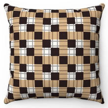 "Load image into Gallery viewer, Black Square Buffalo Pattern 18"" x 18"" Throw Pillow"