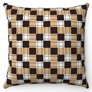 "Black Square Buffalo Pattern 18"" x 18"" Throw Pillow"