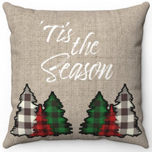 "Load image into Gallery viewer, Tis The Season With Plaid Trees 16"" Or 18"" Square Throw Pillow"