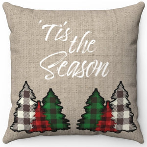 "Tis The Season With Plaid Trees 16"" Or 18"" Square Throw Pillow"