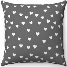 "Load image into Gallery viewer, White Hearts On Grey Minimalist Pattern #Eight 16"" 18"" Or 20"" Square Throw Pillow Cover"
