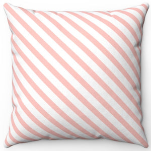 "Diagonal Stripe Pattern In Your Pink 16"" Or 18"" Square Throw Pillow Cover"