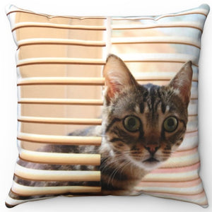 "Kitty Cat In The Blinds 16"" Or 18"" Square Throw Pillow"