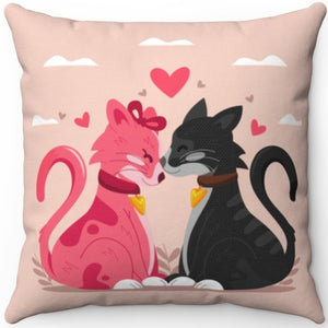 "Kitty Cats In Love 16"" 18"" Or 20"" Square Throw Pillow Cover"