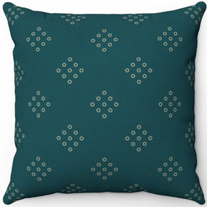 "Sherpa Blue Green Minimal Pattern 18"" x 18"" Square Throw Pillow"