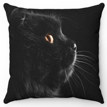 "Load image into Gallery viewer, Black Cat Side View 18"" x 18"" Throw Pillow Cover"