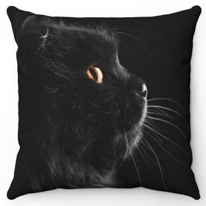 "Black Cat Side View 18"" x 18"" Throw Pillow Cover"