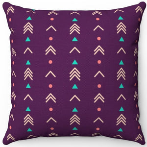 "Purple Abstract Boho Arrows Pattern 16"" 18"" Or 20"" Square Throw Pillow Cover"