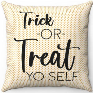 "Candy Corn Trick Or Treat Yo Self 18"" Or 20"" Square Throw Pillow Cover"