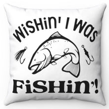 "Load image into Gallery viewer, Wishin' I Was Fishin' Black & White 18"" Or 20"" Throw Pillow Cover"