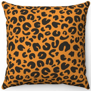 "Wild Leopard Print Pattern 16"" Or 18"" Square Throw Pillow"