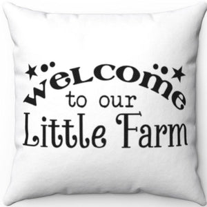 "Little Farm 20"" x 20"" White & Black Throw Pillow Cover"