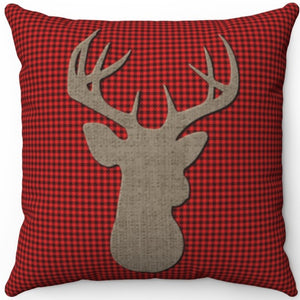 "Deer Head Silhouette #Seventeen 16"" 18"" Or 20"" Square Throw Pillow Cover"