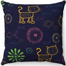 "Load image into Gallery viewer, Cartoon Kitty 18"" x 18"" Throw Pillow Cover"
