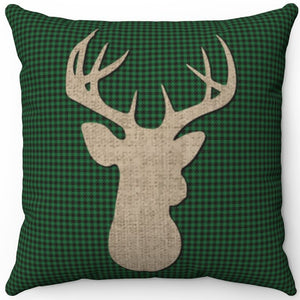 "Deer Head Silhouette #Twelve 16"" 18"" Or 20"" Square Throw Pillow Cover"