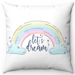 "Let's Dream In White 16"" x 16"" Square Throw Pillow"