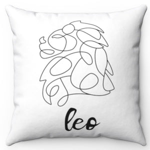 "Leo Black & White Printed Design 16"" x 16"" Square Throw Pillow Cover"