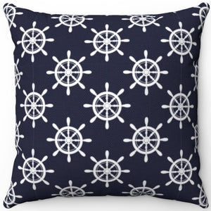 "Nautical Helm Patterned 16"" 18"" Or 20"" Square Throw Pillow Cover"