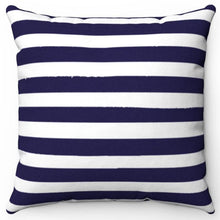 "Load image into Gallery viewer, Darkest Blue Texture Stripes 16"" Or 18"" Square Throw Pillow Cover"