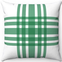 "Load image into Gallery viewer, Deconstructed Farmhouse Plaid Green & White 16"" 18"" Or 20"" Square Throw Pillow Cover"
