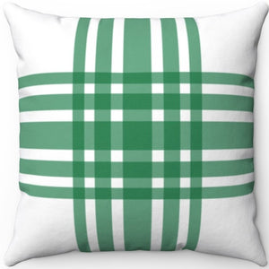 "Deconstructed Farmhouse Plaid Green & White 16"" 18"" Or 20"" Square Throw Pillow Cover"