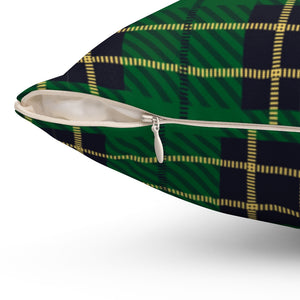 "Green Plaid with Yellow Crosslines 18"" Or 20"" Square Throw Pillow Cover"