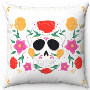 "Sugar Skull On White 16"" Or 18"" Square Throw Pillow Cover"