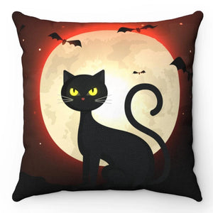 "Black Halloween Cat 18"" x 18"" Throw Pillow"