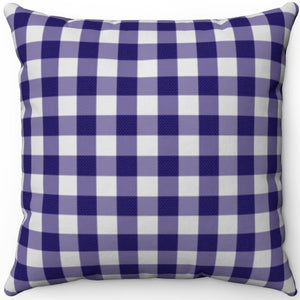 "Dark Blue Plaid 18"" x 18"" Square Throw Pillow"