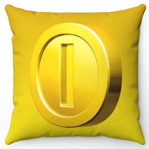 "Mario Bros Gold Coin 18"" x 18"" Square Throw Pillow"
