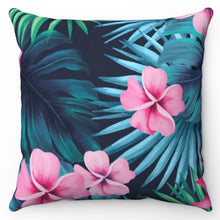 "Load image into Gallery viewer, Tropical Blue & Pink 18"" x 18"" Throw Pillow"