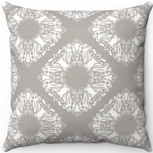 "Load image into Gallery viewer, Delicate Grey & White Filigree Pattern #Two 16"" 18"" Or 20"" Square Throw Pillow Cover"