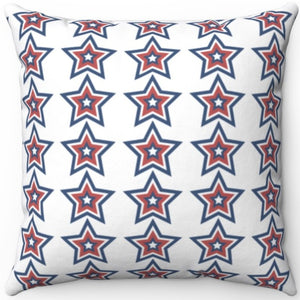 "Patriotic Red White & Blue Starburst 16"" 18"" Or 20"" Square Throw Pillow Cover"
