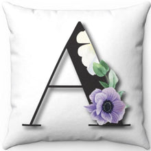 "Load image into Gallery viewer, Floral A Monogrammed 18"" x 18"" Square Throw Pillow"