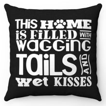 "Load image into Gallery viewer, Wagging Tails Black & White 18"" x 18"" Throw Pillow Cover"