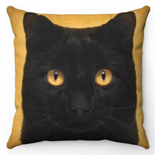 "Load image into Gallery viewer, Black Cat On Grunge 18"" x 18"" Throw Pillow Cover"