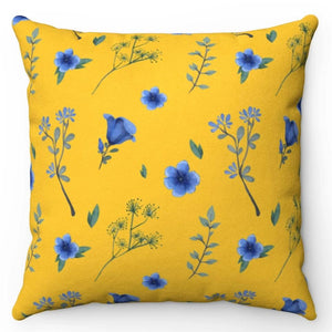 "Blue & Yellow Flower 18"" x 18"" Throw Pillow Cover"