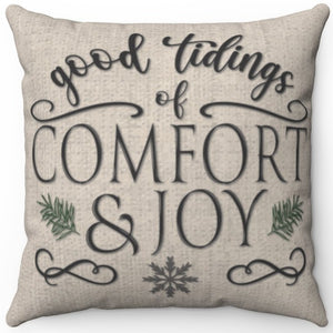 "Good Tidings Of Comfort & Joy 16"" 18"" Or 20"" Square Throw Pillow Cover"
