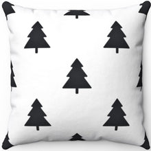 "Load image into Gallery viewer, Black And White Forest 16"" 18"" Or 20"" Square Throw Pillow Cover"