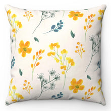 "Load image into Gallery viewer, Delicate Yellow Flowers 18"" x 18"" Throw Pillow Cover"